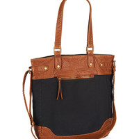 Canvas and Faux Leather Tote