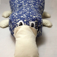 Platypus plush / stuffed animal / blue flower pattern platypus