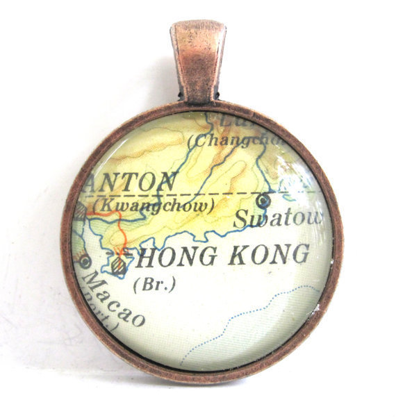 Hong Kong Pendant from Vintage Map in Glass by CarpeDiemHandmade