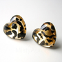 Leopard Earring Studs Animal Print Heart Gold Black by MistyAurora