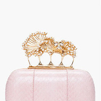 Alexander Mcqueen Pink Snakeskin Knuckle Box Clutch for women | SSENSE