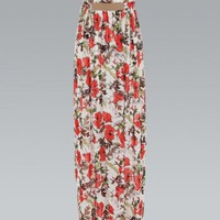 Floral Chiffon Bandeau Maxi Dress
