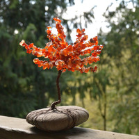 Fall Tree of Life Sculpture on River Rock
