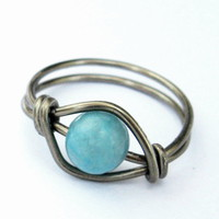 Turquoise Jasper Gemstone Ring In Gunmetal Custom Size | Luulla
