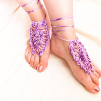 Purple Sexy barefoot crochet sandals foot jewelry by Mashacrochet