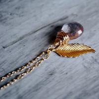 Leaf Pink Necklace 14kt Gold Filled Mystic Quartz Wire Wrapped Gemstones | Luulla