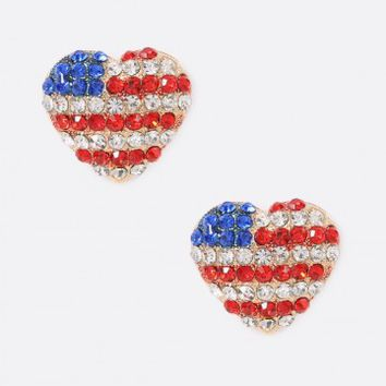 Rhinestone Heart American Flag Stud Earrings | MakeMeChic.com