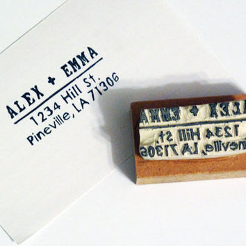 Personalized Address Stamp Rectangle Rubber Stamp by LetterKay