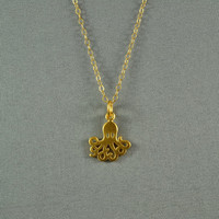Octopus Necklace Gold Vermeil 14K Gold Filled by WonderfulJewelry