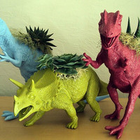 Dinosaur Planter Trio Modern Art Centerpieces by CoastalMoss