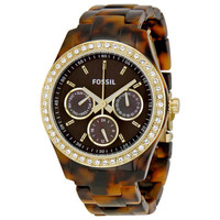 Fossil Stella Tortoise Shell Acrylic Ladies Watch ES2795