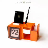 Vintage Flip Calendar Desk Organizer Orange