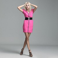 Bqueen Slim Zipper Dress Pink FK003F - Designer Shoes|Bqueenshoes.com
