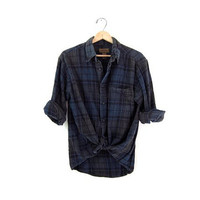 Vintage Blue Plaid Flannel / Grunge Shirt / Button up shirt