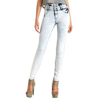 ACID WASH HIGH-WAISTED SKINNY JEANS