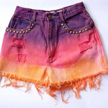 Vintage Grand River High Waist Dyed Studded Distressed Denim Cut Off Shorts