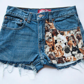 Vintage Levi High Waist Dog Print Distressed Denim Cut Off Shorts
