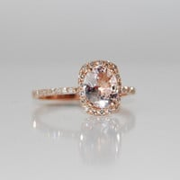 1.65ct Cushion ice peach champagne color change sapphire in 14k rose gold diamond ring engagement ring