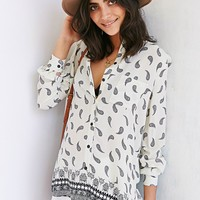 Ecote Allover Print Drapey Button-Down Shirt - Urban Outfitters