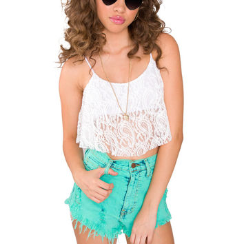 Only Us Lace Crop Top - White