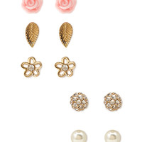 FOREVER 21 Eclectic Stud Set Gold/Pink One