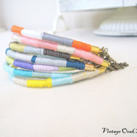 Fiber Wrapped Friendship Bracelet with by VintageOoakDesigns