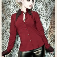 EDWARDIAN CRIMSON LACE & MANOR SHIRT