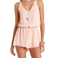 CROSS-BACK STRAPPY CHIFFON ROMPER