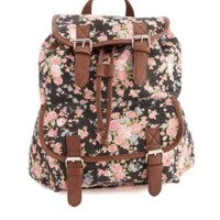 BELTED FLORAL PRINT CANVAS BACKPACK