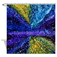 "Mosaic fabric Shower Curtain - ""Moonlit""  blue, gold, aqua, teal, indigo, modern, fine art ,bathroom, beautiful,  home, decor"