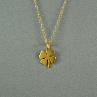 Four Leaf Lucky Clover Necklace 24K Gold by WonderfulJewelry