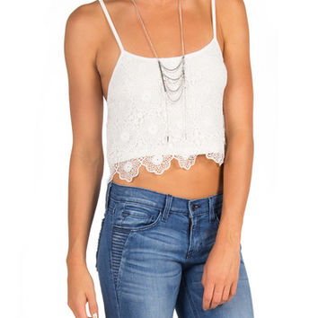 Crochet Crop Tank - White