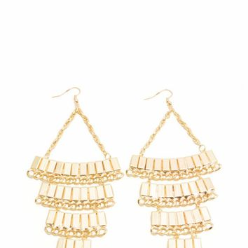 Oversized Chandelier Tile Chain Earrings