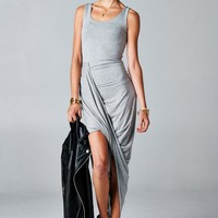 Gray twisted maxi dress
