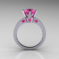 French 14K White Gold 1.5 Carat Pink Sapphire Designer Solitaire Engagement Ring R151-14KWGPS