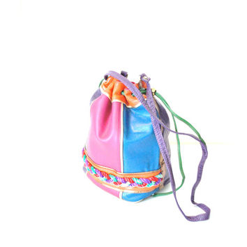 80s color blocked neon leather bucket bag / large drawstring purse
