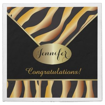 Citrine Zebra Stripe Background Napkins