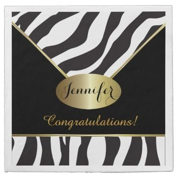 Black and White Zebra Stripe Background Napkins