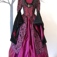 Maroon and black Faux fur Renaissance medievel  inspired dress Halloween Costume