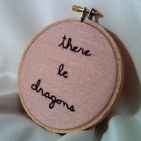 There Be Dragons  Embroidered Hoop Art Wall by BeanTownEmbroidery