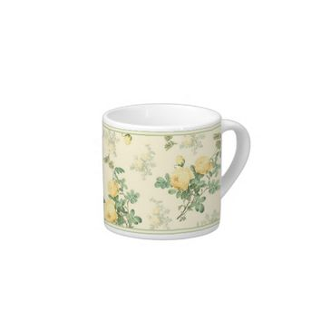 Decorative espresso mug floral yellow roses