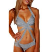 Meilun Women's One Pcs Grey Stretch Bandage Bodycon Swimsuit Bikini