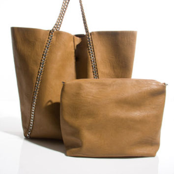Goutelette Shopper Bag With Purse in Tan