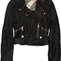 Burberry|Convertible cropped leather biker jacket|NET-A-PORTER.COM