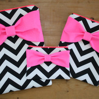 Coordinating Set of Cases - MacBook, iPad / Pad Mini, and Free Cosmetic Case - Black Chevron Neon Pink Bow - Padded - Sized to Fit Any Brand