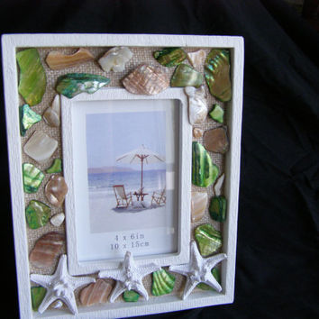 Shell Beach Frame, Starfish,  Green & Natural Abalone Shell, Seashell, Shell Frame, Beach Decor, Photo Frame