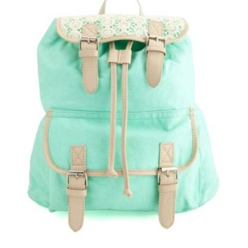 CROCHET-TOPPED BELTED CANVAS BACKPACK