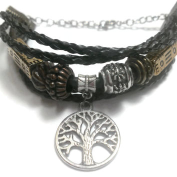 Tree of Life Leather Bracelet, Charm, Hippie, Bohemian, Mother Earth, Free Spirit - Proceeds Charity