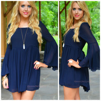 Sherwood Navy Bell Sleeve Dress
