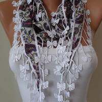 White and Purple Scarf with White Trim Edge by SwedishShop on Etsy